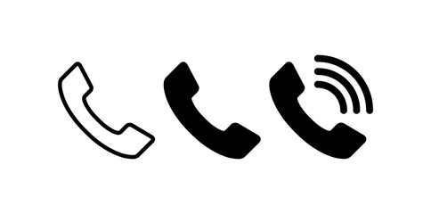 Phone icon set. Telephone symbol. Contact us. Vector illustration.