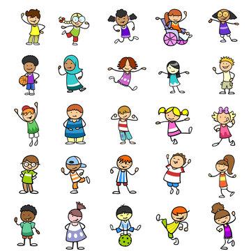 Multikulturelle Kinder als Cartoon Icons Gruppe