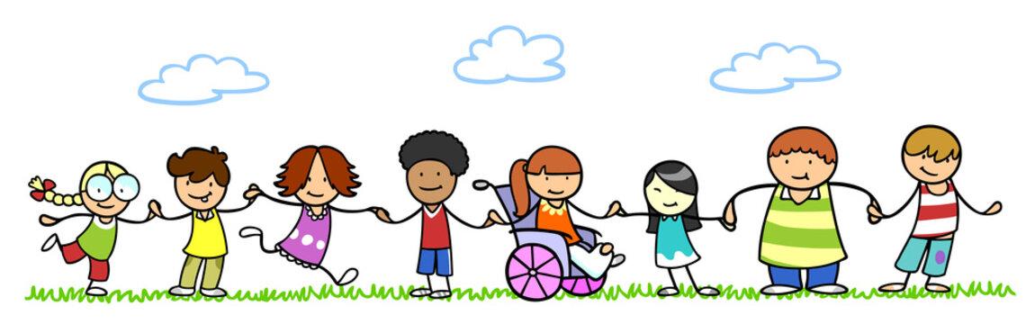 Kinder halten Hände als Integration und Inklusion Konzept