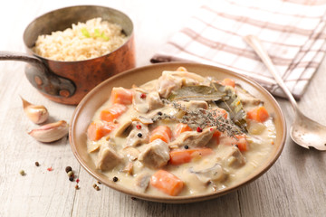 blanquette de veau, veal stew with sauce and vegetable, french gastronomy