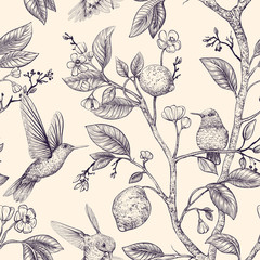 Fototapeta Vector sketch pattern with birds and flowers. Hummingbirds and flowers, retro style, nature backdrop. Vintage monochrome flower design for wrapping paper, cover, textile, fabric, wallpaper obraz