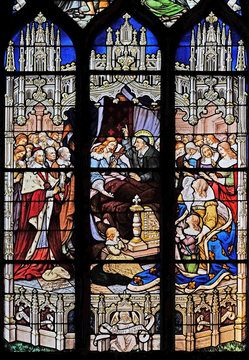 The death of Louis XIII in the presence of St Vincent de Paul, Anne of Austria, the future Louis XIV and Cardinal Mazarin, stained glass in St Severin church in Paris