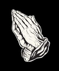 Praying Hands Sticker Black