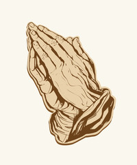 Praying Hands Sticker Brown