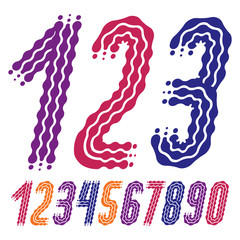 Vector funky, ornate numbers collection. Rounded bold italic numerals from 0 to 9 can be used in retro, disco, pop poster design. Made using flow, wavy lines.