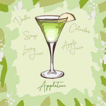 APPLETINI, low-alcohol, apple-lemon taste Contemporary classic cocktail illustration. Alcoholic bar drink hand drawn vector. Pop art isolated sketch style menu item.