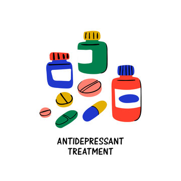 Psychology. Antidepressant treatment. Medication in jars and antidepressants pills. Medical cure against stress and depression. Doodle style flat vector illustration.