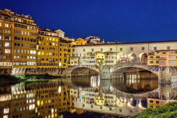 Ponte Vecchio in Florence, Italy, on a summer night.