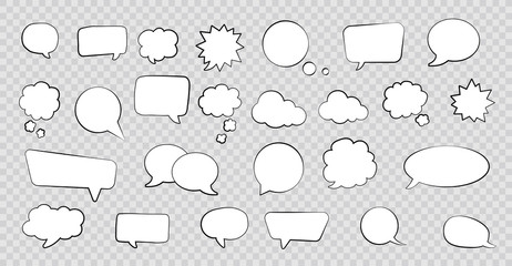 Big set of speech bubbles. Retro empty comic bubbles. Stickers. Vector illustration.