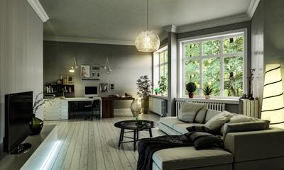 Natürlich eingerichtetes Zimmer mit großer Fensterfront