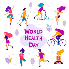 World health day vector illustration. Healthy lifestyle concept. Different physical activities.