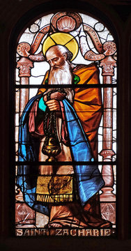 Saint Zechariah, stained glass window in Saint Eustache church in Paris, France