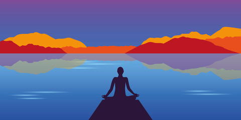 meditation silhouette at beautiful lake and mountain autumn landscape background vector illustration EPS10