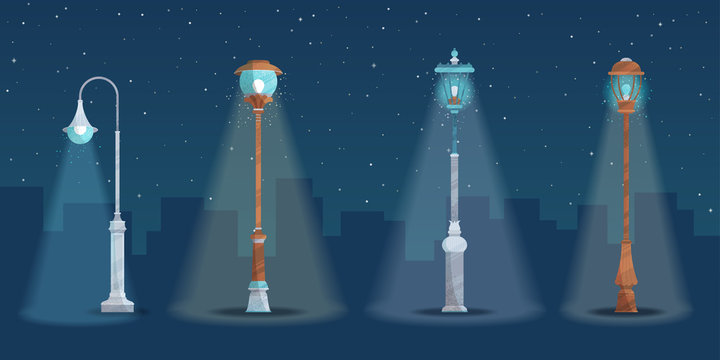 Vector set of street lights in a city at night.