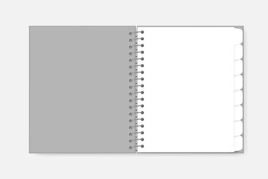 Open spiral notebook with tab divider pages, mockup. White blank wire bound diary, template