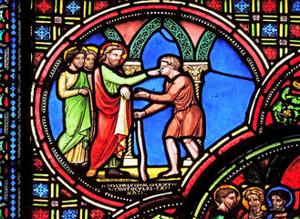 Jesus heals a blind man, stained glass window from Saint Germain-l'Auxerrois church in Paris, France