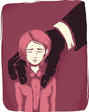Girl Sexual Harassment Hand Hold Illustration