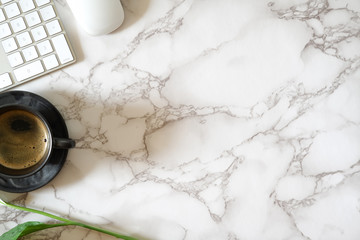 Contemporary marble office table and office supplies