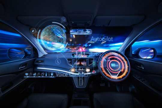 Car interior with Self driving , Auto pilot and internet of thin  futuristic . icon illustration . Autonomous car system technology concept .