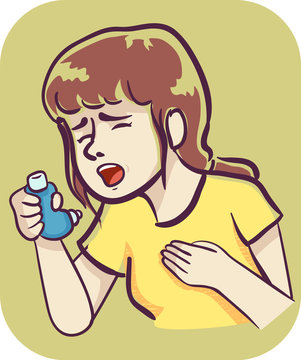 Girl Wheezing Inhaler Illustration