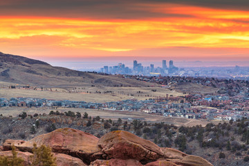 Fototapete - Downtown Denver, Colorado, USA From Red Rocks
