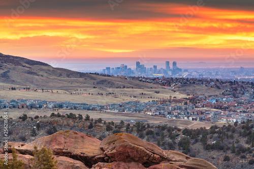 Fototapete Downtown Denver, Colorado, USA From Red Rocks