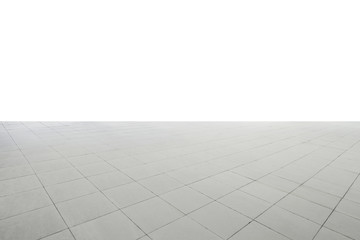 Wide square marble stone floor isolated with white background , Include clipping path .