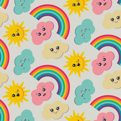 Vector seamless pattern with cute smiling sun, rainbow, cloud