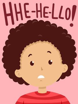 Kid Boy Stutter Hello Illustration