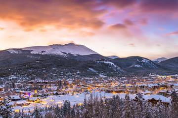 Fototapeta Breckenridge, Colorado, USA Town Skyline in Winter obraz