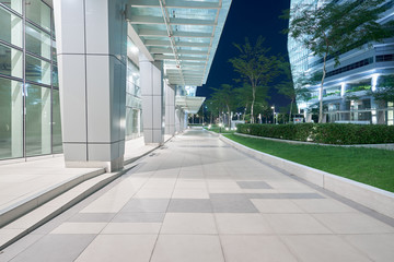 Modern business office building exterior with floor ,night scene .
