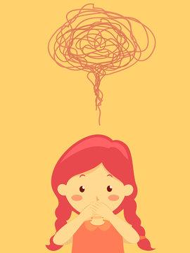 Kid Girl Stutter Shut Mouth Hands Illustration
