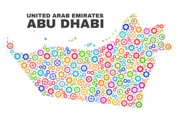 Mosaic technical Abu Dhabi Emirate map isolated on a white background. Vector geographic abstraction in different colors.