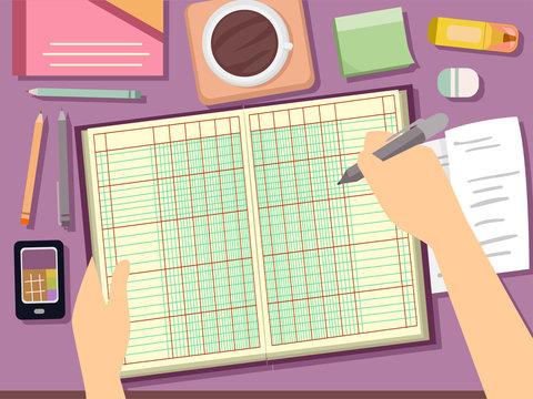 Hand Ledger Bookkeeping Illustration