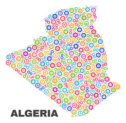 Mosaic technical Algeria map isolated on a white background. Vector geographic abstraction in different colors. Mosaic of Algeria map combined of random bright gear elements.