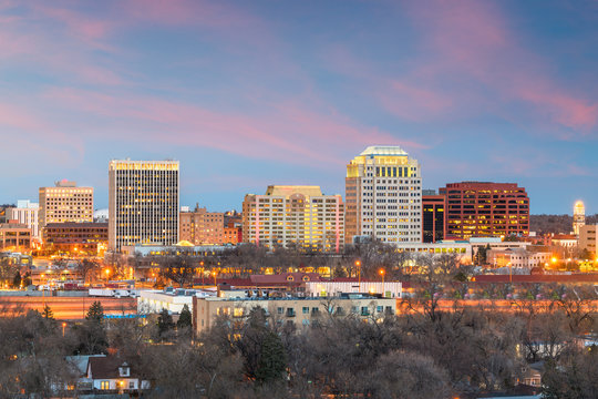 Colorado Springs, Colorado, USA downtown city skyline