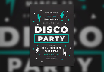 Disco Party Flyer with Blue Accents Layout