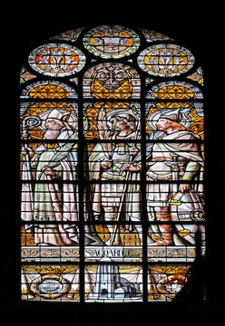 Saint Agoard of Creteil, stained glass window in the Saint Augustine church in Paris, France
