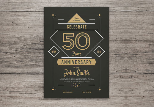 Anniversary Invitation with Gold Accents Layout