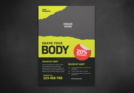 Fitness Flyer with Torn Texture Layout
