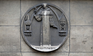 Albertus Magnus, also known as Saint Albert the Great, was a German Catholic Dominican friar and bishop. Stone relief at the building of the Faculte de Medicine Paris