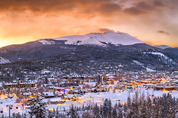 Breckenridge, Colorado, USA Town Skyline in Winter Wall mural