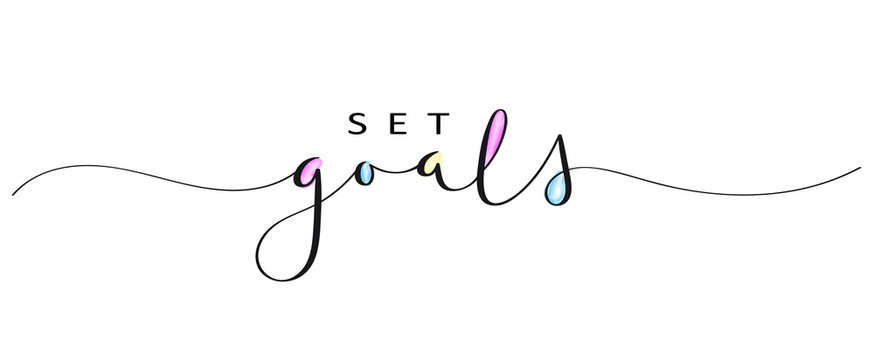 SET GOALS brush calligraphy banner with watercolor fill
