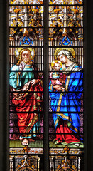 Christ blessing and the Virgin with Child, stained glass windows in the Saint Gervais and Saint Protais Church, Paris, France