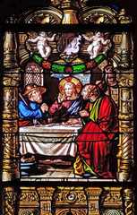 Supper at Emmaus, stained glass windows in the Saint Gervais and Saint Protais Church, Paris, France