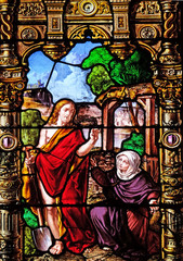 Risen Christ and Mary Magdalene, stained glass windows in the Saint Gervais and Saint Protais Church, Paris, France