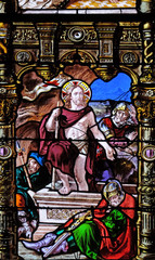 Resurrection of Christ, stained glass windows in the Saint Gervais and Saint Protais Church, Paris, France