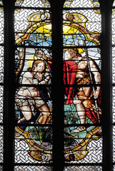 The Baptism of Jesus, stained glass windows in the Saint Gervais and Saint Protais Church, Paris, France