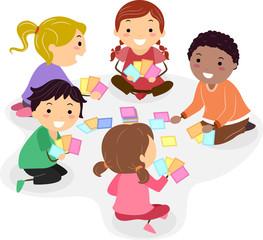 Stickman Kids Play Card Game Illustration