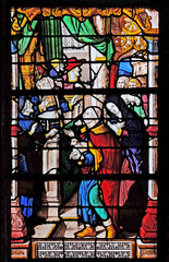 Joachim offered a sacrifice of ten lambs, stained glass windows in the Saint Gervais and Saint Protais Church, Paris, France